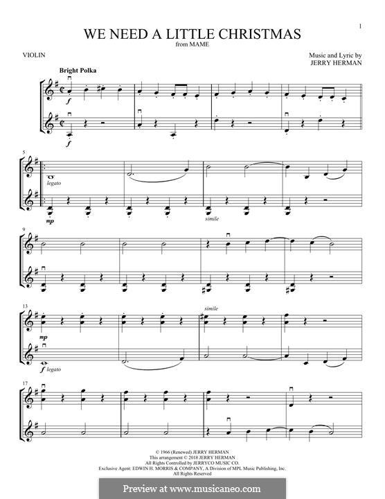 We Need a Little Christmas: Für zwei Violinen by Jerry Herman