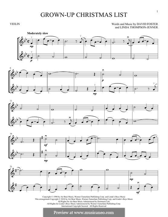 Grown-Up Christmas List: Für zwei Violinen by David Foster, Linda Thompson-Jenner