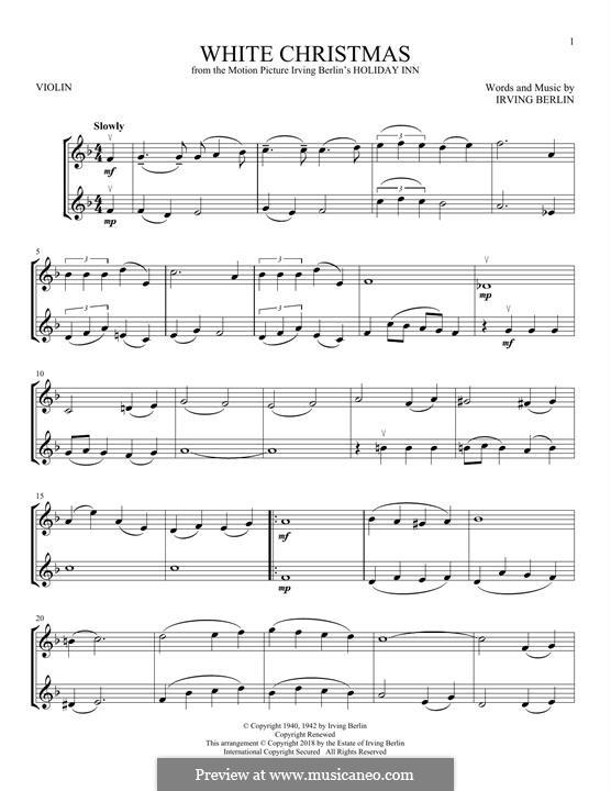 White Christmas. Instrumental version: Für zwei Violinen by Irving Berlin