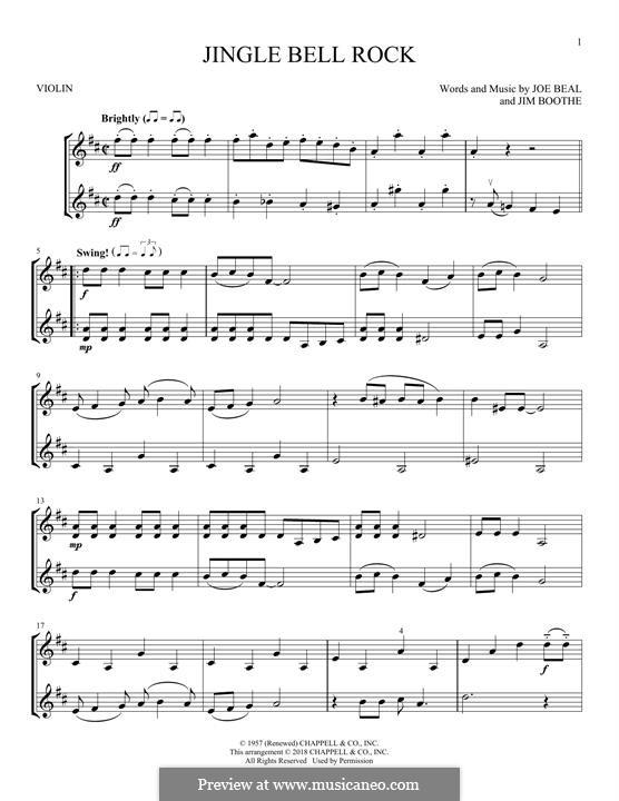 Jingle Bell Rock: Für zwei Violinen by Jim Boothe, Joe Beal