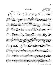 Konzert für Klavier und Orchester Nr.6 in B-Dur, K.238: Bearbeitung für Streichquartett – Violinstimme I by Wolfgang Amadeus Mozart