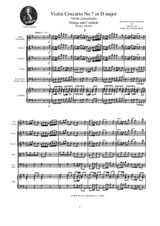 Dodici concerti a cinque, Op.9: Concerto No.7 in D major - score and parts by Tomaso Albinoni