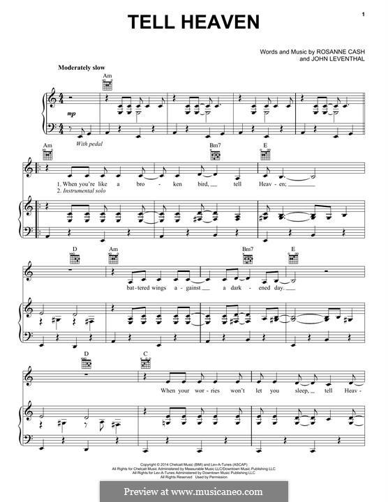 Tell Heaven: Für Stimme und Klavier (oder Gitarre) by John Leventhal, Rosanne Cash