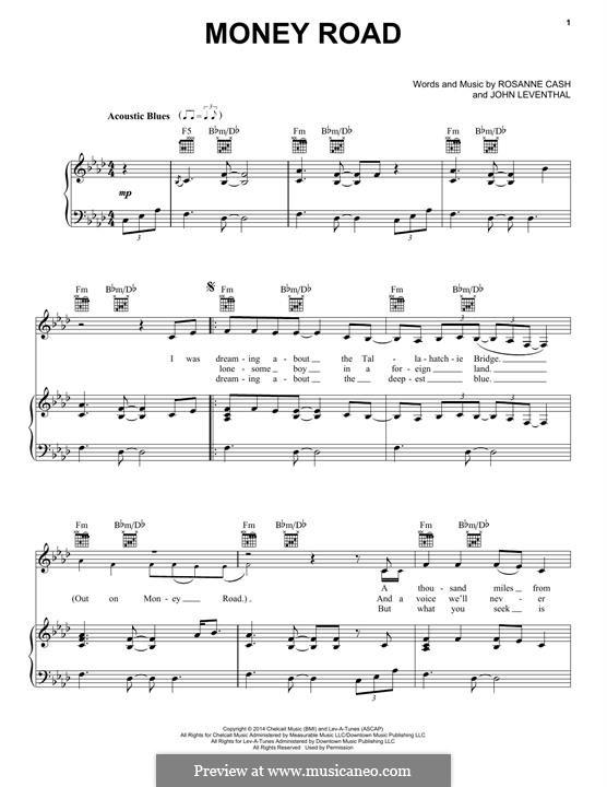 Money Road: Für Stimme und Klavier (oder Gitarre) by John Leventhal, Rosanne Cash