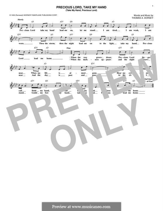Precious Lord, Take My Hand (Take My Hand, Precious Lord): Melodische Linie by Thomas A. Dorsey