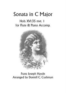 Sonate für Klavier Nr.48 in C-Dur, Hob.XVI/35: Movement I, for flute and piano by Joseph Haydn