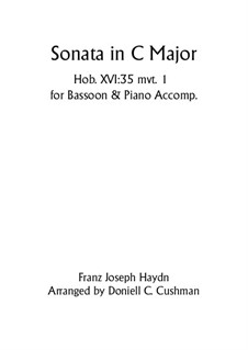 Sonate für Klavier Nr.48 in C-Dur, Hob.XVI/35: Movement I, for bassoon and piano by Joseph Haydn