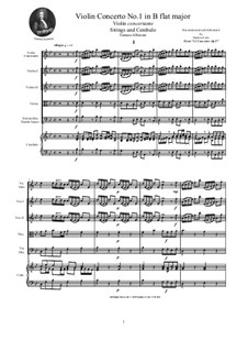 Dodici concerti a cinque, Op.9: Concerto No.1 in B Flat Major - score, parts by Tomaso Albinoni