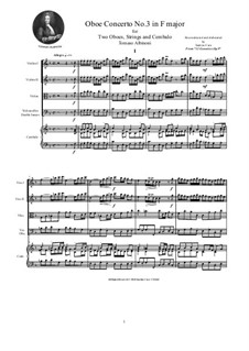 Dodici concerti a cinque, Op.9: Concerto No.3 in F major - score and parts by Tomaso Albinoni