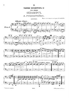 Feramors: Danses des bayadères No.2, for two pianos eight hands – piano I part by Anton Rubinstein