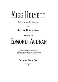 Miss Helyett: Bearbeitung für Klavier by Edmond Audran