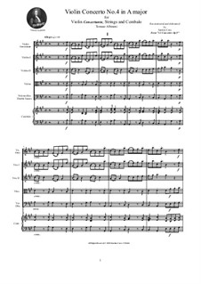Dodici concerti a cinque, Op.9: Concerto No.4 in A major - score and parts by Tomaso Albinoni