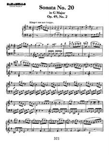 Sonate für Klavier Nr.20, Op.49 No.2: Für einen Interpreten by Ludwig van Beethoven