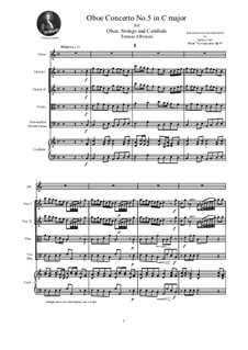 Dodici concerti a cinque, Op.9: Concerto No.5 in C major - score and parts by Tomaso Albinoni