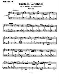 Dreizehn Variationen über Thema aus 'Das rote Käppchen' von Dittersdorf, WoO 66: Für Klavier by Ludwig van Beethoven