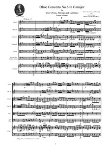 Dodici concerti a cinque, Op.9: Concerto No.6 in G major - score and parts by Tomaso Albinoni