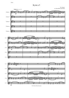 Kyrie canon a 5: For 5 clarinets by Wolfgang Amadeus Mozart