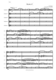 Kyrie canon a 5: For 5 equal saxophones by Wolfgang Amadeus Mozart