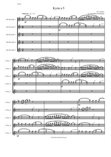 Kyrie canon a 5: For 5 alto recorders by Wolfgang Amadeus Mozart