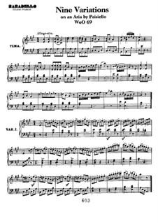 Neun Variationen über Aria von Paisiello, WoO 69: Für Klavier by Ludwig van Beethoven