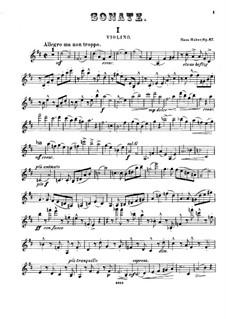 Sonate für Violine und Klavier Nr.3 in D-Dur, Op.67: Violinstimme by Hans Huber