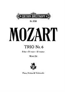 Divertissement in B-Dur, K.254: Vollpartitur by Wolfgang Amadeus Mozart