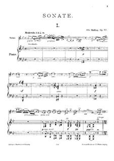 Sonate für Violine und Klavier, Op.57: Partitur by Otto Malling