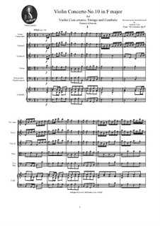 Dodici concerti a cinque, Op.9: Concerto No.10 in F major - score and parts by Tomaso Albinoni