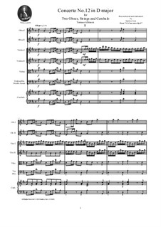 Dodici concerti a cinque, Op.9: Concerto No.12 in D major - score and parts by Tomaso Albinoni