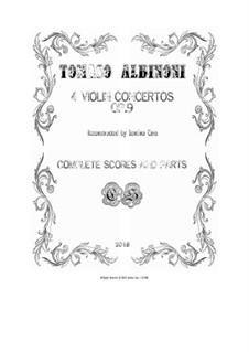 Dodici concerti a cinque, Op.9: Concertos Nos.1, 4, 7, 10 - scores and parts by Tomaso Albinoni