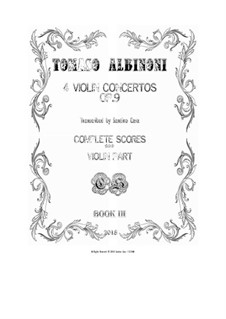 Dodici concerti a cinque, Op.9: Four Concertos for violin and cembalo (or piano) - scores and part by Tomaso Albinoni