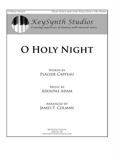 O hehre Nacht: For two voices and piano by Adolphe Adam