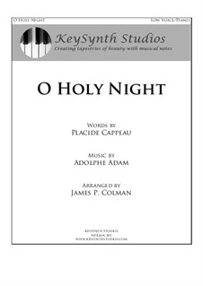 O hehre Nacht: For baritone and piano by Adolphe Adam