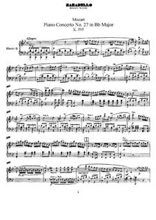 Konzert für Klavier und Orchester Nr.27 in B-Dur, K.595: Bearbeitung für zwei Klaviere, vierhändig by Wolfgang Amadeus Mozart