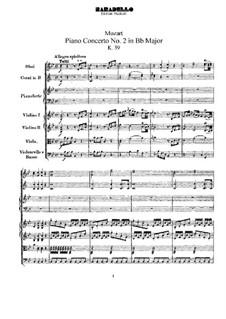 Konzert für Klavier und Orchester Nr.2 in B-Dur, K.39: Vollpartitur by Wolfgang Amadeus Mozart