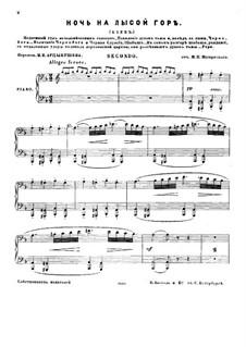 Eine Nacht auf dem kahlen Berge: Version für Klavier, vierhändig by Modest Mussorgski