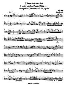 Nr.39 Arie 'Erbarme Dich, mein Gott': For cello and keyboard by Johann Sebastian Bach