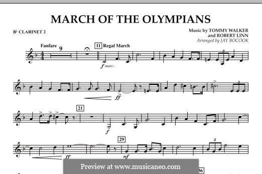 March of The Olympians: Bb Clarinet 2 part by Tommy Walker, Robert Linn