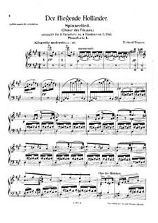 Spinnlied: Für zwei Klaviere, vierhändig – Stimme by Richard Wagner