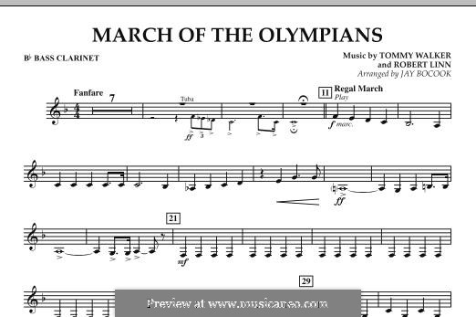 March of The Olympians: Bb Bass Clarinet part by Tommy Walker, Robert Linn