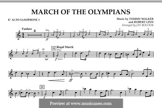 March of The Olympians: Eb Alto Saxophone 1 part by Tommy Walker, Robert Linn