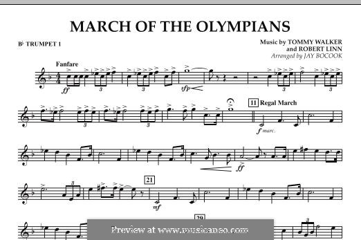 March of The Olympians: Bb Trumpet 1 part by Tommy Walker, Robert Linn