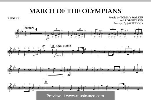 March of The Olympians: F Horn 1 part by Tommy Walker, Robert Linn