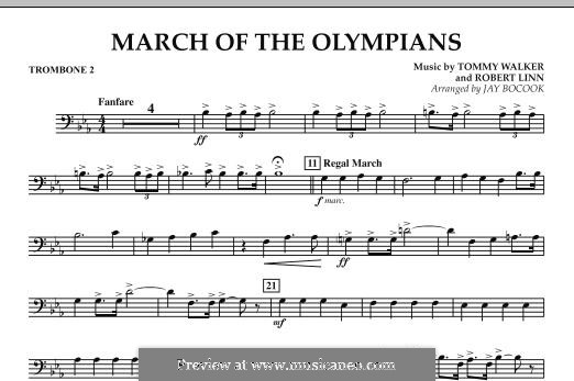 March of The Olympians: Trombone 2 part by Tommy Walker, Robert Linn