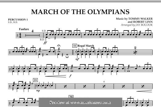 March of The Olympians: Percussion 1 part by Tommy Walker, Robert Linn