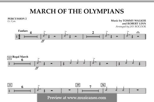 March of The Olympians: Percussion 2 part by Tommy Walker, Robert Linn