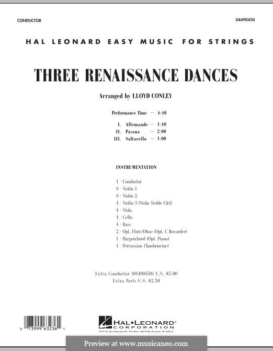 Three Renaissance Dances: Conductor score (full score) by William Byrd, Giovanni Antonio Terzi
