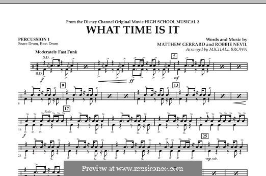 What Time Is It (from High School Musical 2): Percussion 1 part by Matthew Gerrard, Robbie Nevil