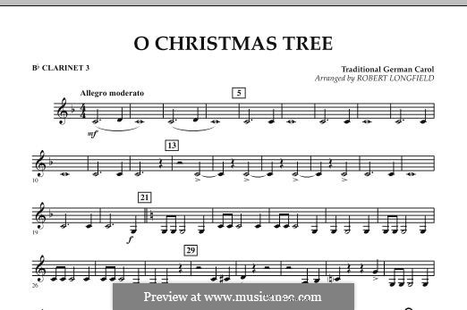 O Christmas Tree, for Orchestra: Bb Clarinet 3 part by folklore