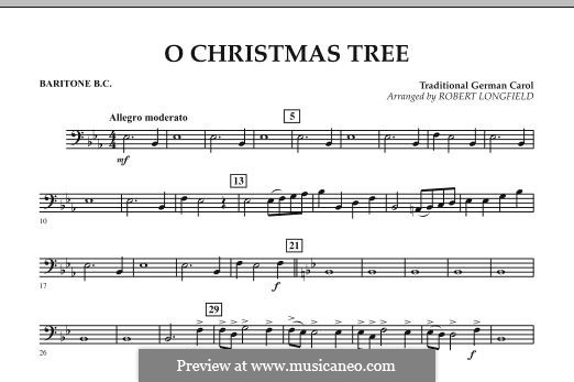 O Christmas Tree, for Orchestra: Baritone B.C. part by folklore